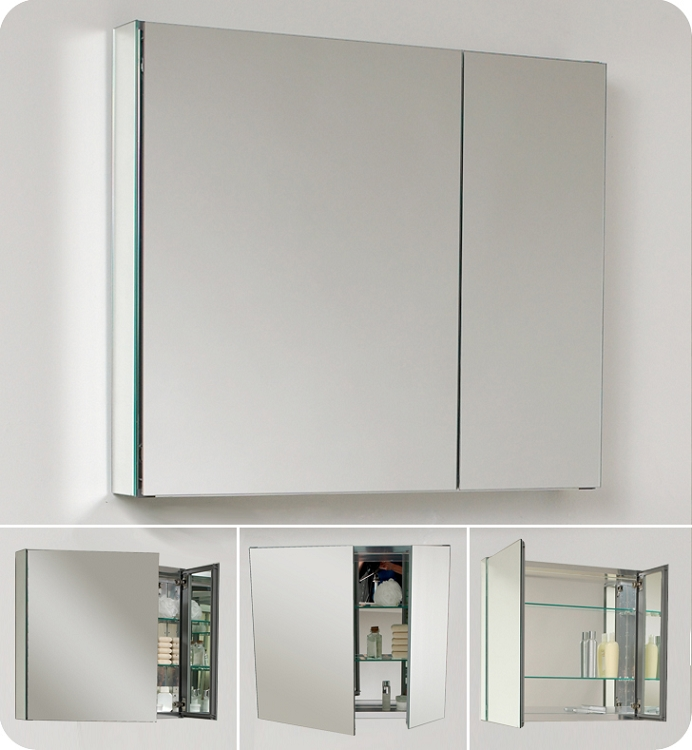 mount cabinet recessed medicine polished chrome surface