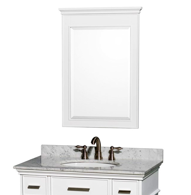 Home gt; Bath Storage gt; White Bathroom Vanity Mirror 24quot;x34quot;H