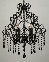 5 Light Black Crystal Chandelier 22
