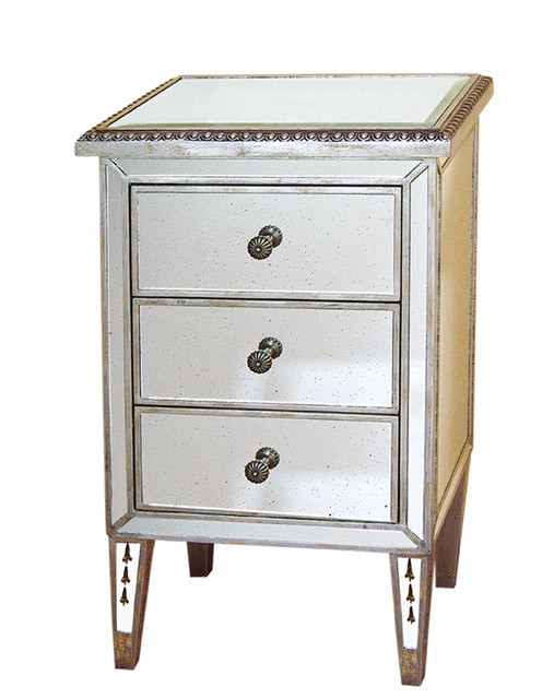 """Antiqued Mirrored Nightstand End Table 18""""x30""""H"""