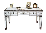 "Antiqued Mirrored Table Console / Desk 48""x29""H"
