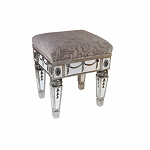 "Mirrored Gilded Stool 16""x18""H"