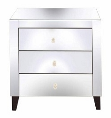 Mirrored Nightstand Side Table 24