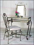 Wrought Iron Vanity Table with Mirror 36