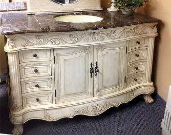 "48"" Regal Antique Vanity, Available in Antique White or Antique Grey"