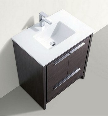 "30"" Adriano Bathroom Vanity - Available in Grey Oak, White Lacquer and Ash Grey Lacquer"