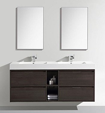 "59"" Double Sink Wall Mount Vanity - Available in other Finishes"