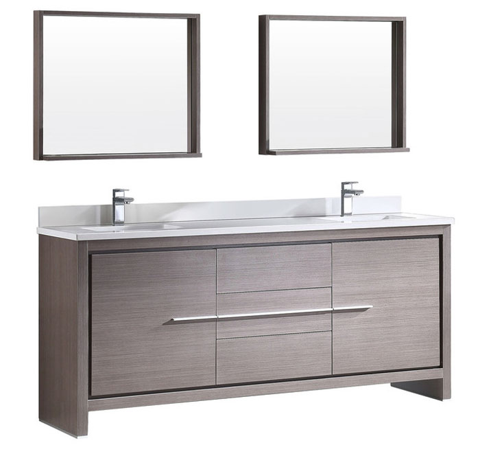 72 Double Sink Bathroom Vanity Available In Grey Oak Light Espresso And White Lacquer