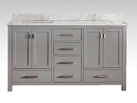 Grey Double Sink Bathroom Vanity 61