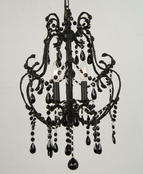 3 Light Black Crystal Chandelier 15