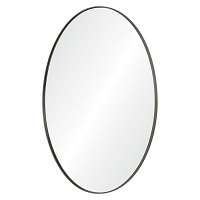 Oval Iron Frame Mirror, Antique Brushed Silver Finish 30