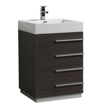 "24"" Bathroom Vanity - Available in Grey Oak and White Lacquer"