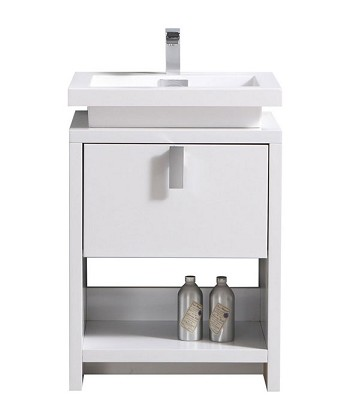 "24"" Lune Bathroom Vanity, Available in Havana Oak, White Lacquer and Ash Grey"