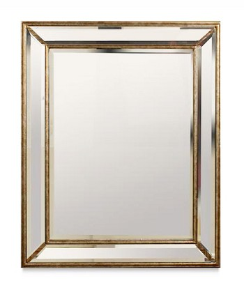 "Mirror with Mirrored Frame 30""x38"", Available in Champagne or Antique Silver"