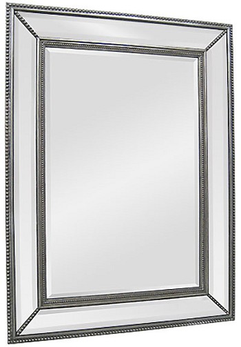 "Mirror with Mirrored Frame in Antique Silver 40""x50"""